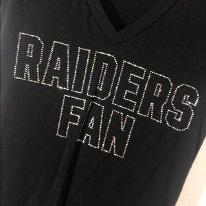 Rhinestone Oakland Raiders Fan Vneck Tee